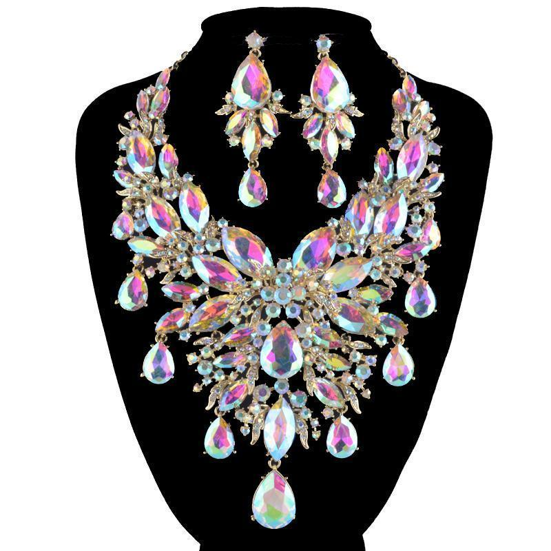 Luxury rhinestone crystal necklace and earrings pageant set in AB, green, black, multi, silver and more.