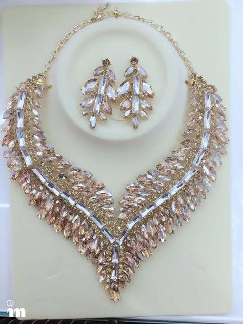 Luxury rhinestone crystal necklace and earrings pageant set in green, blue, champagne, gold, black, AB and more.