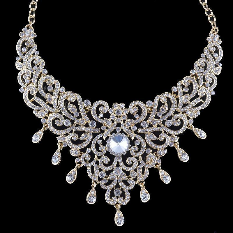 Luxury gold/silver crystal necklace and earrings pageant set.