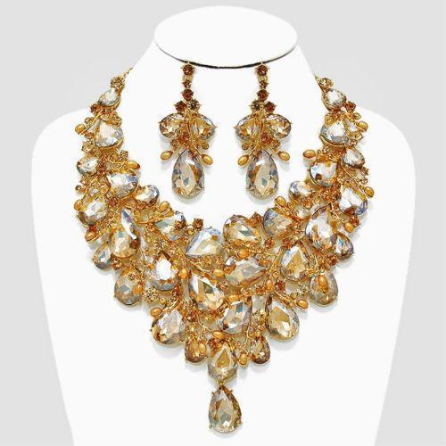 Luxury rhinestone crystal necklace and earrings pageant set in silver, champagne and AB.