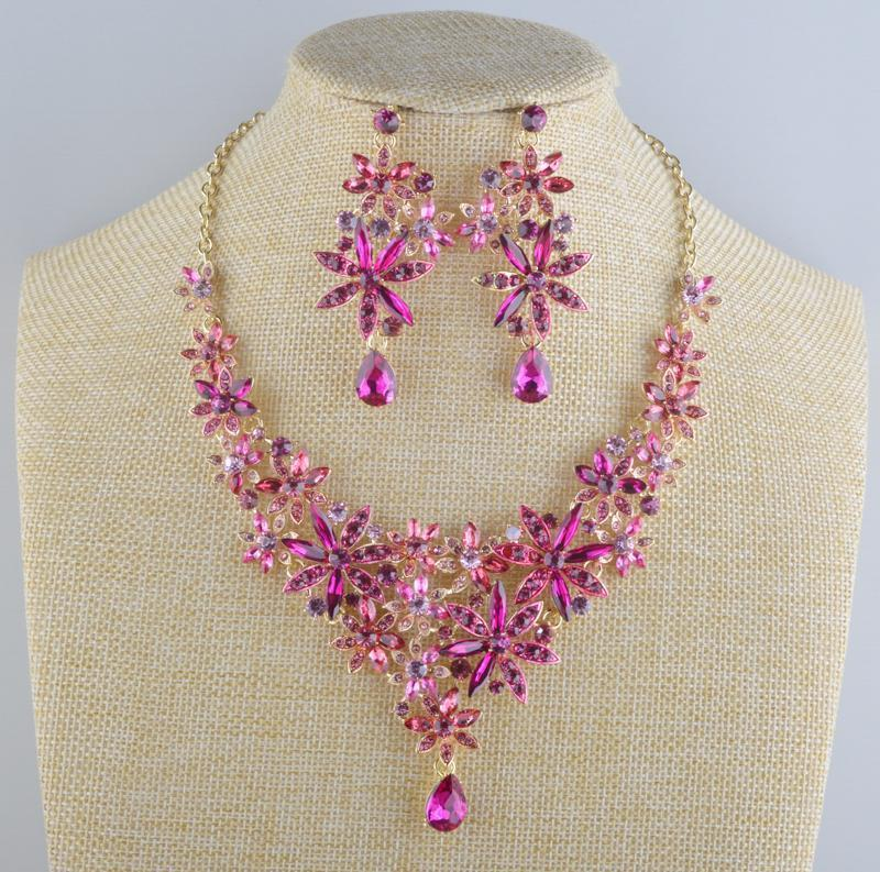 Luxury crystal necklace and earrings pageant set in pink, purple, black, silver and more.