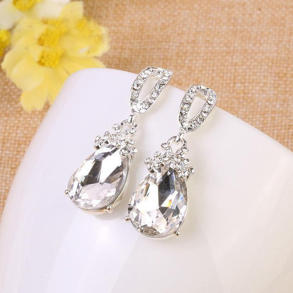 Small drop Pageant and prom earrings in silver and AB crystal. - jovani-dress