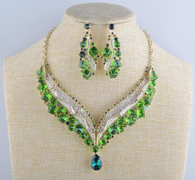 Luxury crystal necklace and earrings Pageant set in green, AB, multi, grey and more.