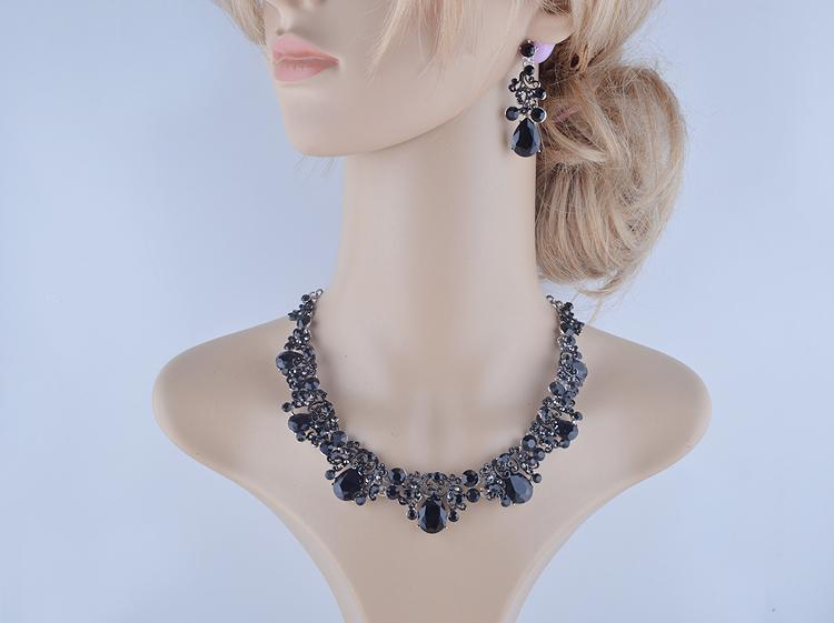 Luxury rhinestone crystal necklace and earrings Pageant set in black. - jovani-dress