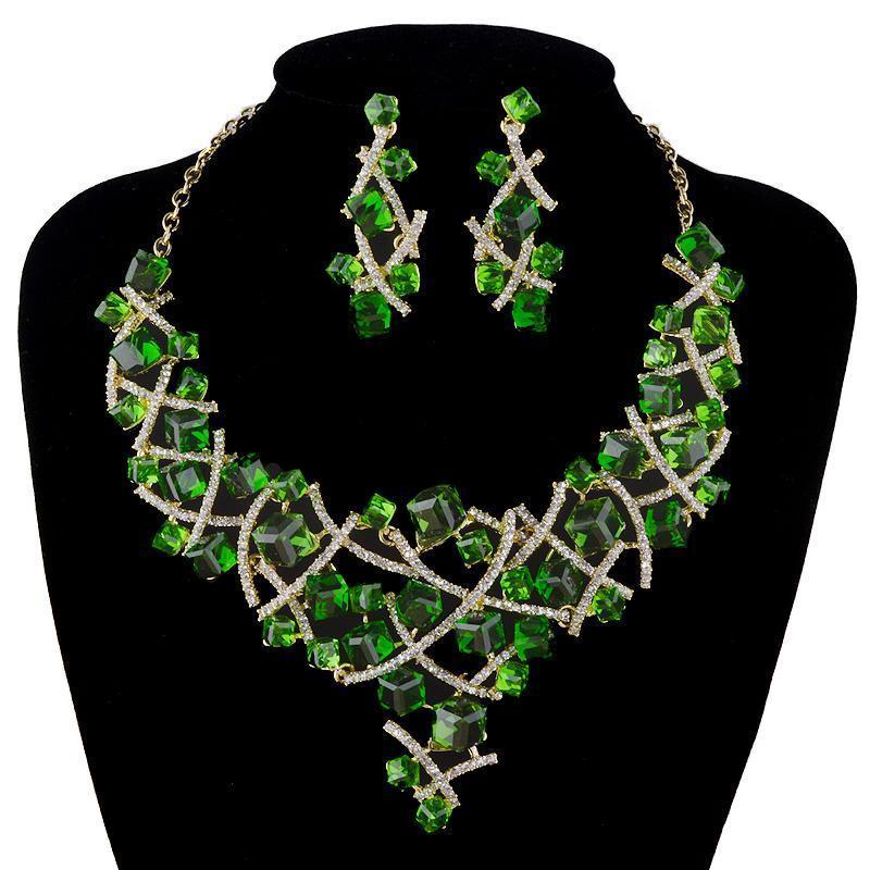 Luxury crystal necklace Nadia earrings pageant set in green, blue, red, silver and more.
