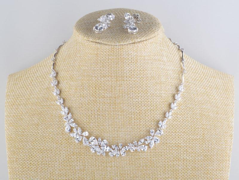 Luxury cubic zirconia crystal necklace and earrings pageant and prom set in silver.