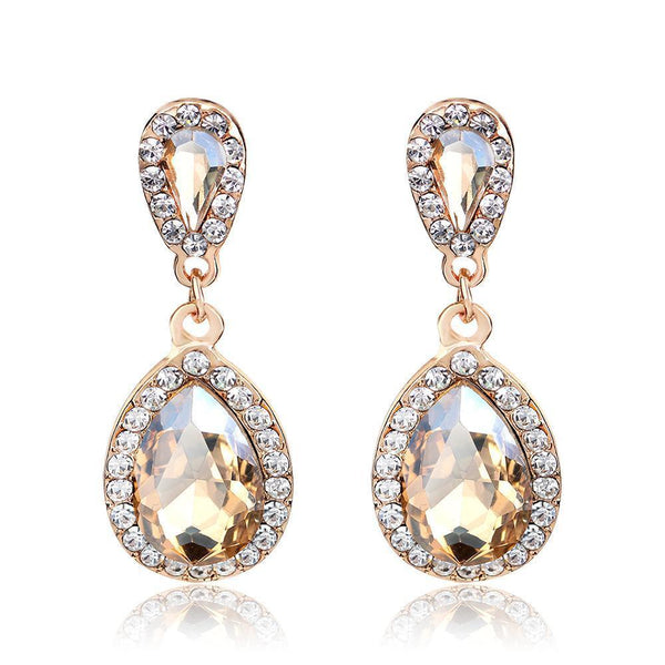 Best seller prom and pageant earrings in champagne.
