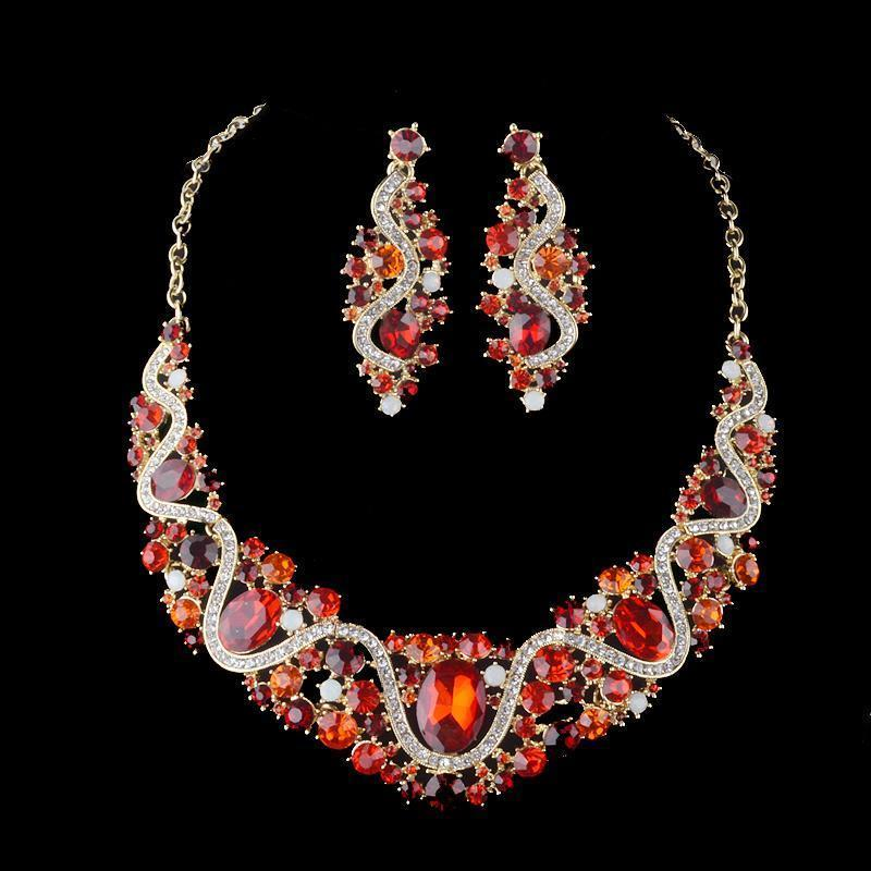 Luxury rhinestone crystal necklace and earrings pageant set in red, blue, brown, AB and more.