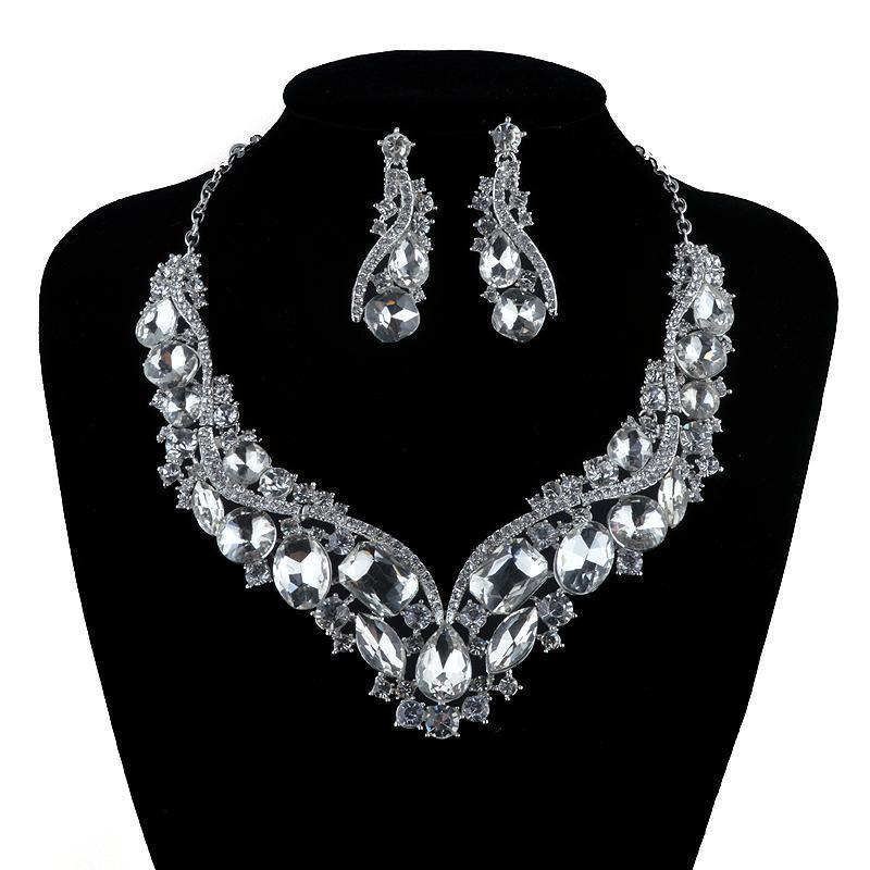 Luxury rhinestone crystal necklace and earrings pageant set in silver, green, black and more.