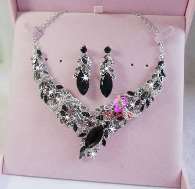 Luxury rhinestone crystal necklace and earrings pageant set in multi, black, blue, pink and more.