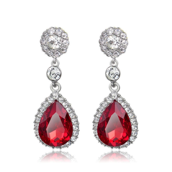 Best seller tear drop prom and pageant earrings in red, champagne, purple and silver.