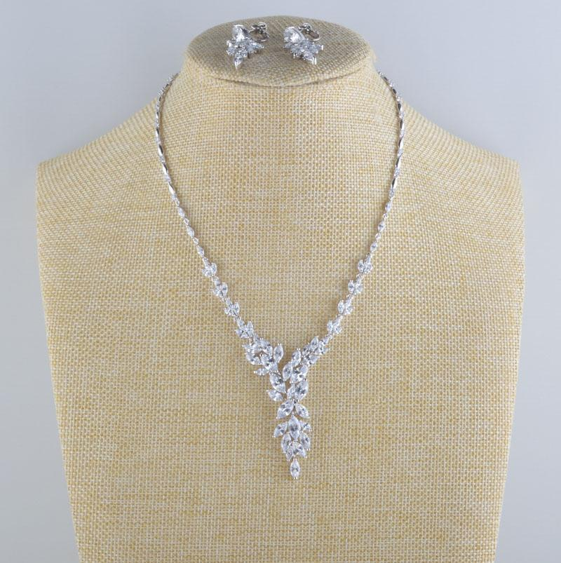 Luxury cubic zirconia crystal necklace and earrings prom and pageant set in silver.