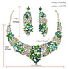 Luxury rhinestone crystal necklace and earrings pageant set in green, purple, black, brown and more.