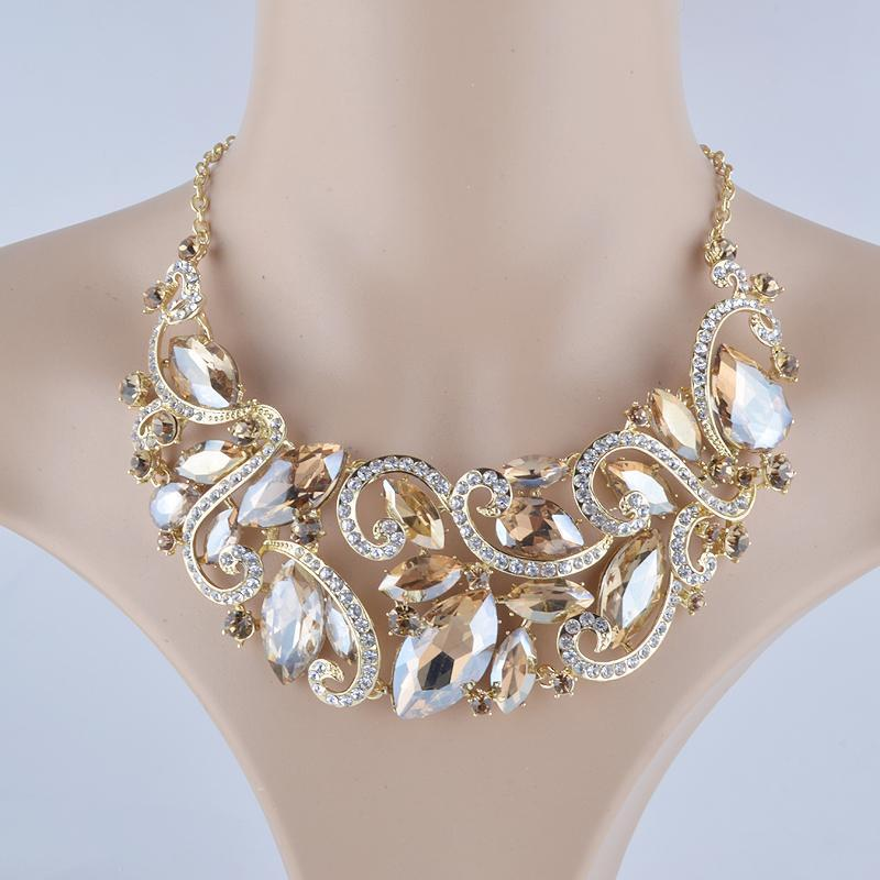 Luxury rhinestone crystal necklace and earrings pageant set in champagne.