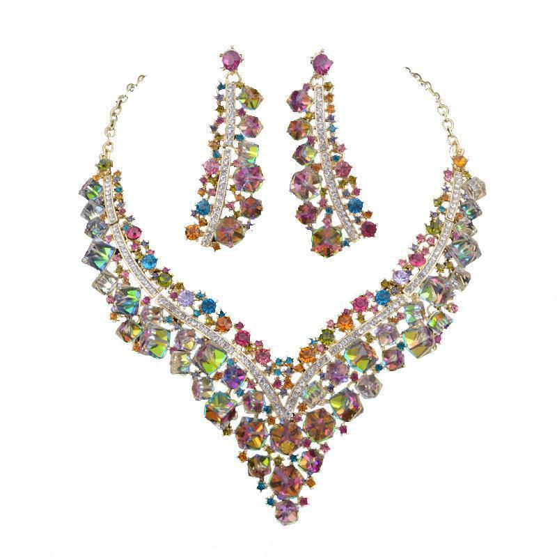 Luxury crystal necklace and earrings pageant set in multi.