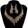 Luxury crystal cubic zirconia necklace and earrings pageant set in multi, pink, black, blue and more.