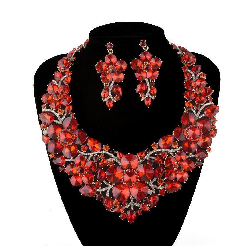 Luxury crystal rhinestone necklace and earrings pageant set in red, multi, pink and more.