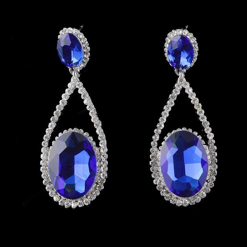 Tear drop pageant earrings in royal blue.
