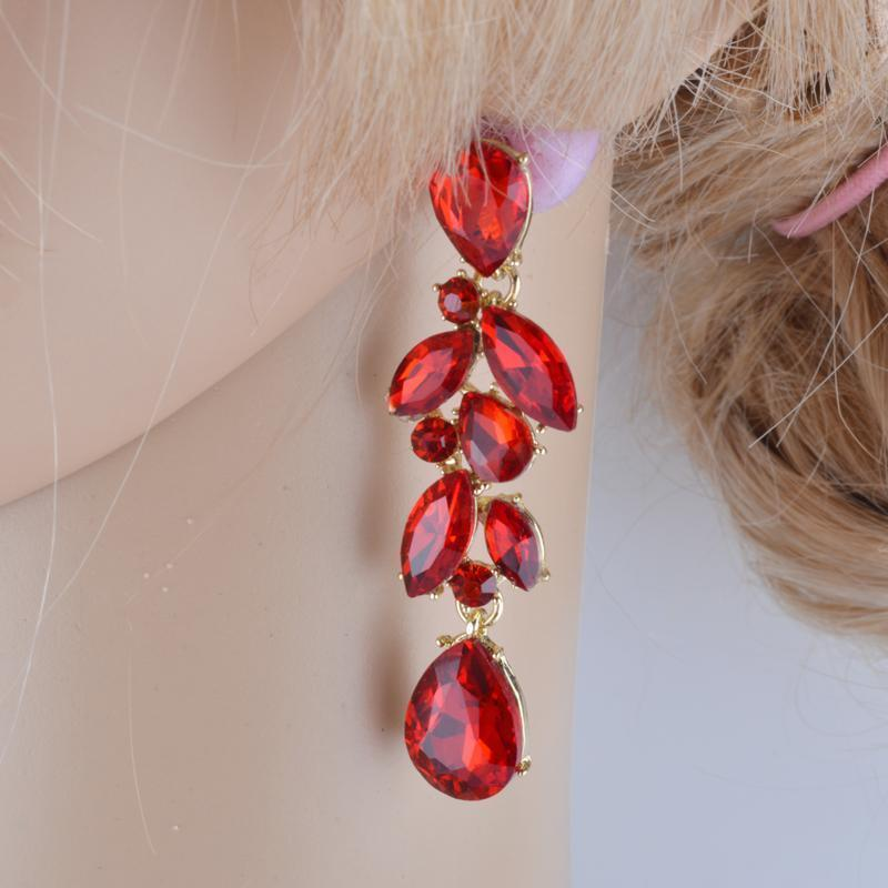Luxury crystal rhinestone necklace and earrings pageant set in red.