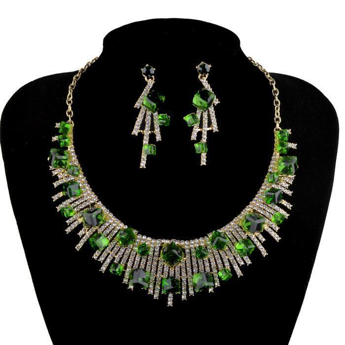 Luxury crystal necklace and earrings pageant set in red and green.