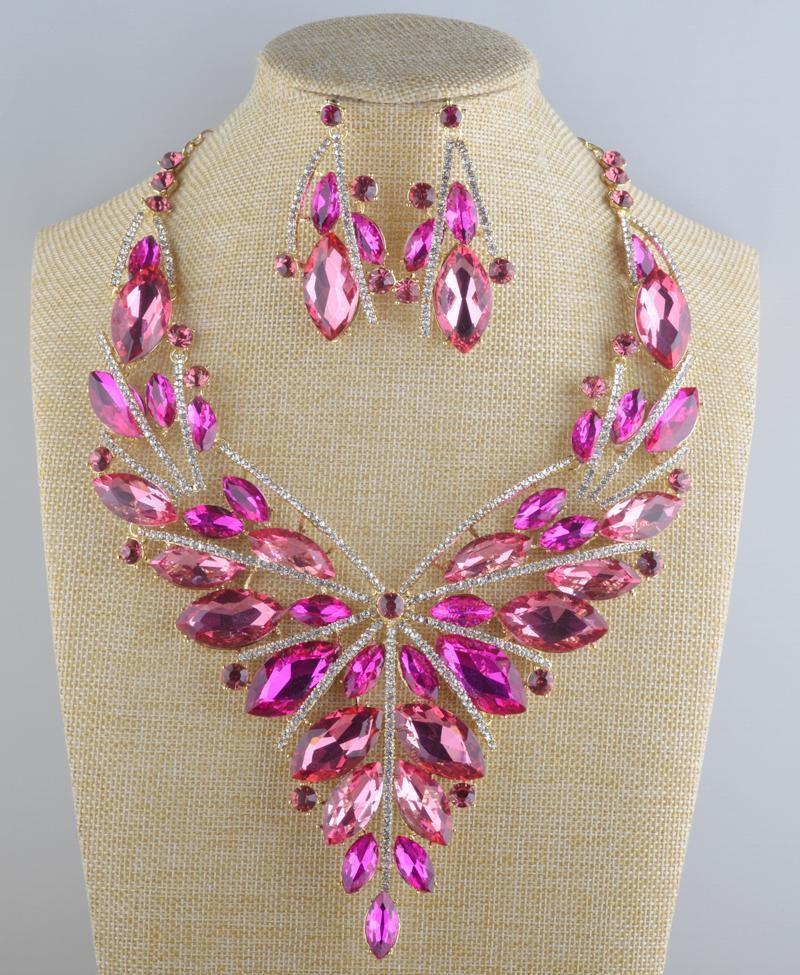 Luxury crystal necklace and earrings pageant set in pink, brown and multi.