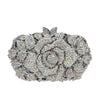 Fancy Rhinestone Rose Clutch Purse Handbag