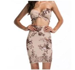 Sexy Glitter Two Piece Dress Apricot / L Dress