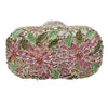 Beautiful Flower Floral Crystal Bag Green and Pink - jovani-dress