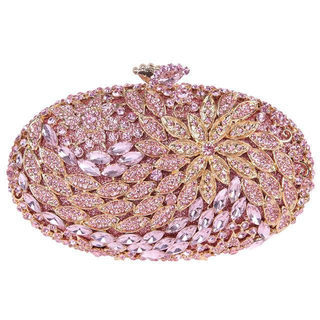 Crystal Clutch Purse Silver Gold