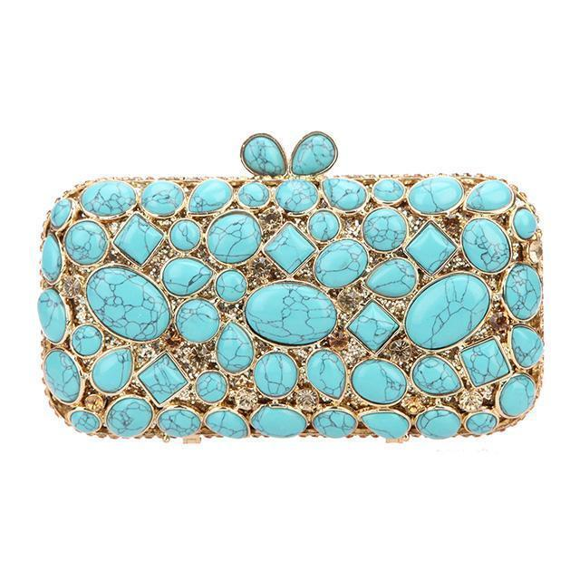 Turquoise Stone Purse Clutch Bag