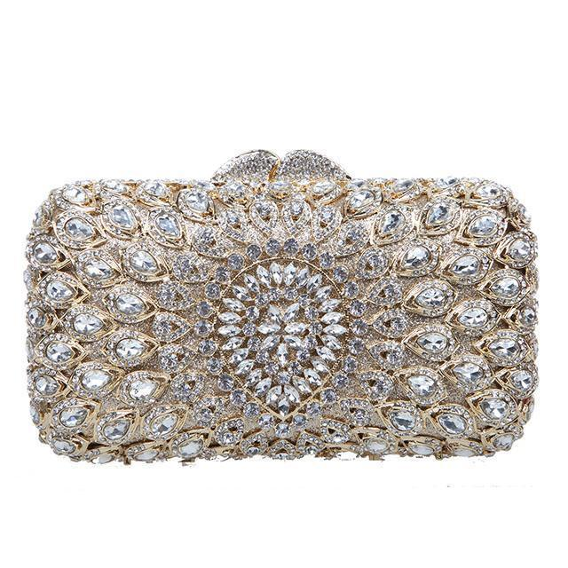 Silver Evening Clutch Purse Bag Jewel Crystal