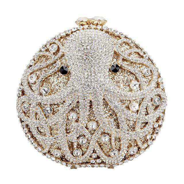 Mini Octopus Purse Bag Clutch Stoned Jewelled Rhinestoned with Diamantes