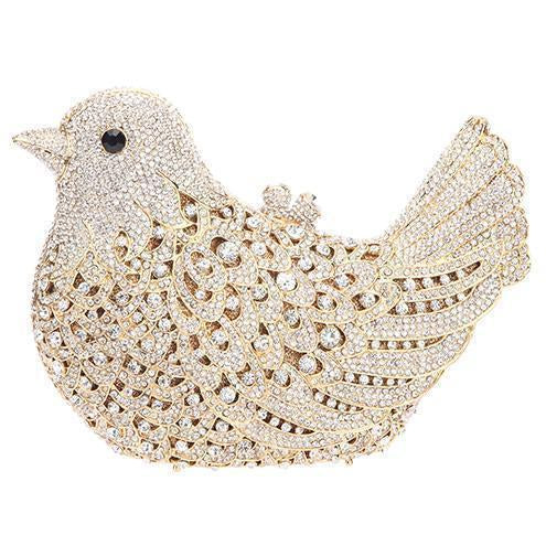 Bird Clutch Bag Covered in Rhinestones and Jewels