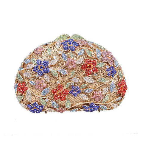 Bling Floral Clutch Purse Womens Handbag - jovani-dress