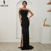 Beautiful Ruffle Feather High Split Gown Dress