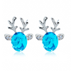 Rudolph Reindeer Christmas Earrings Lake Blue Earrings
