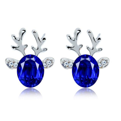 Rudolph Reindeer Christmas Earrings Royal Blue Earrings