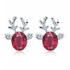 Rudolph Reindeer Christmas Earrings Purple Red Earrings