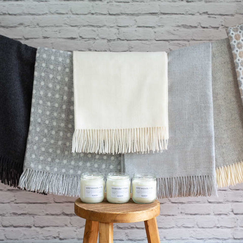 Wool throws and natural candles | scooms