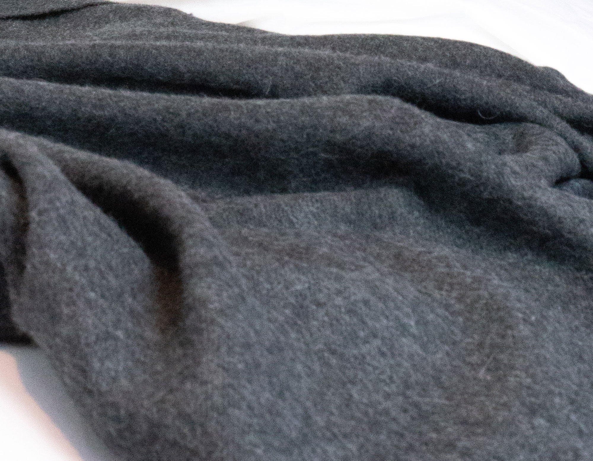 Alpaca wool throw charcoal on bed | scooms