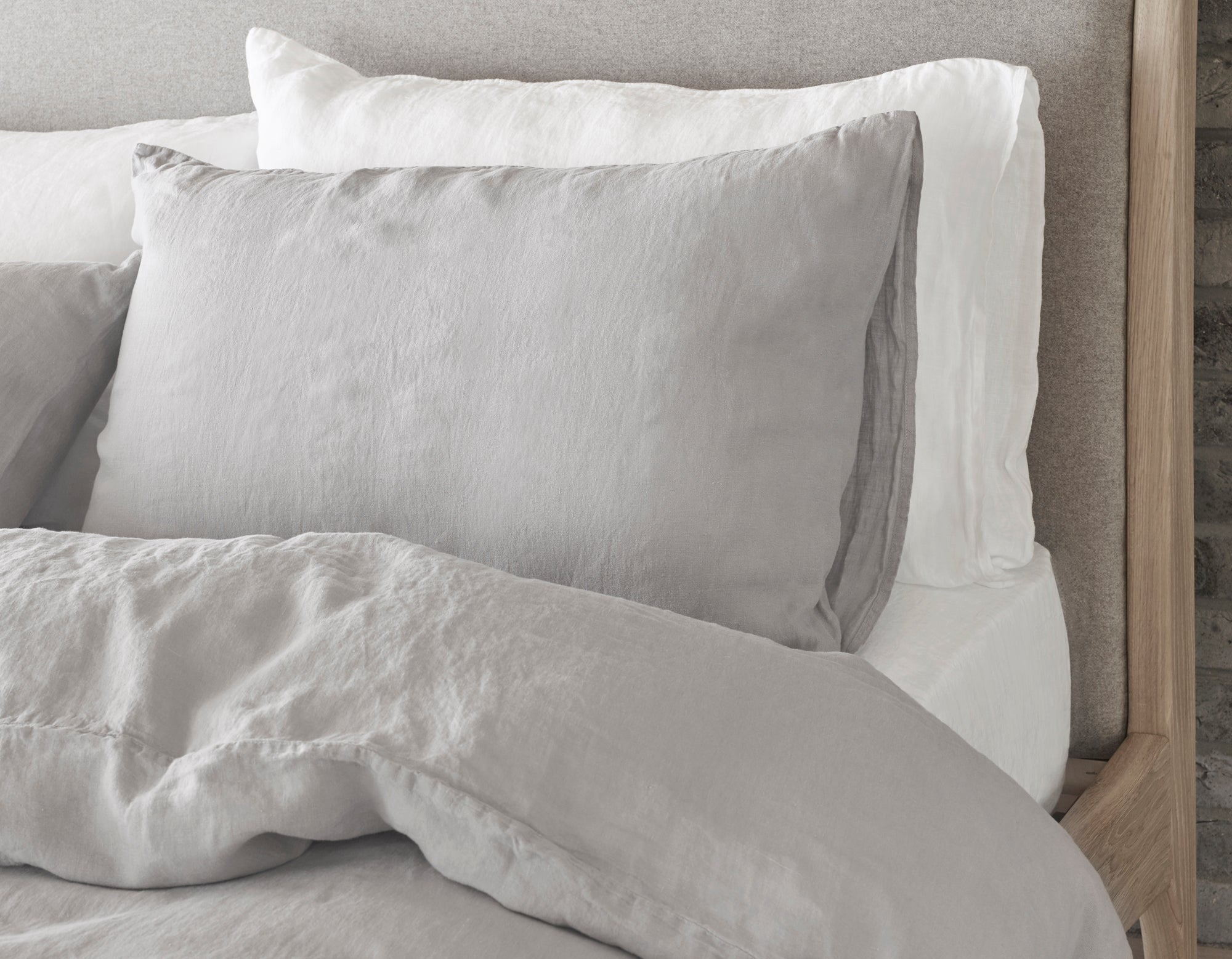 Linen Pillowcase Close Up in Calm Grey | scooms