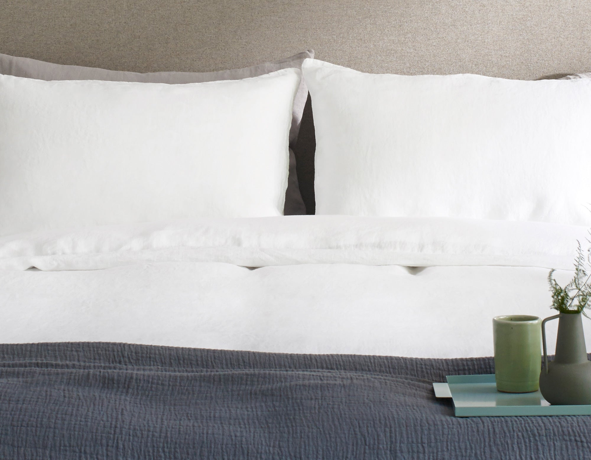 Linen Pillowcase Pair in White | scooms