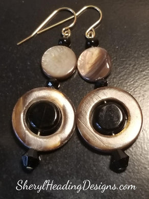 Black and Brown Dangle Earrings - Sheryl Heading Designs