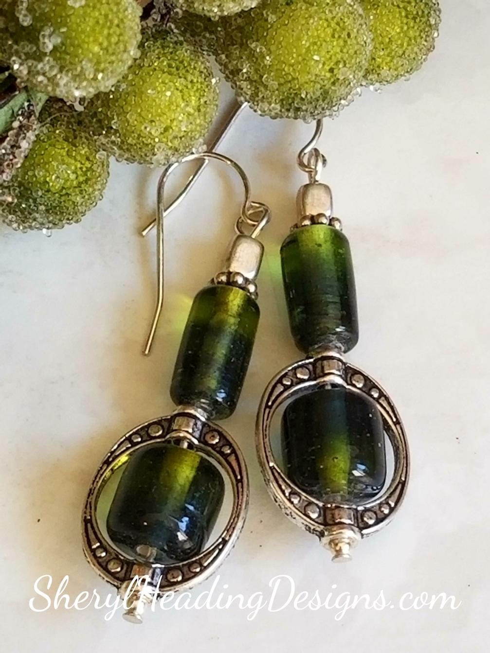 Sweet Silver and Green Dangle Earrings - Sheryl Heading Designs
