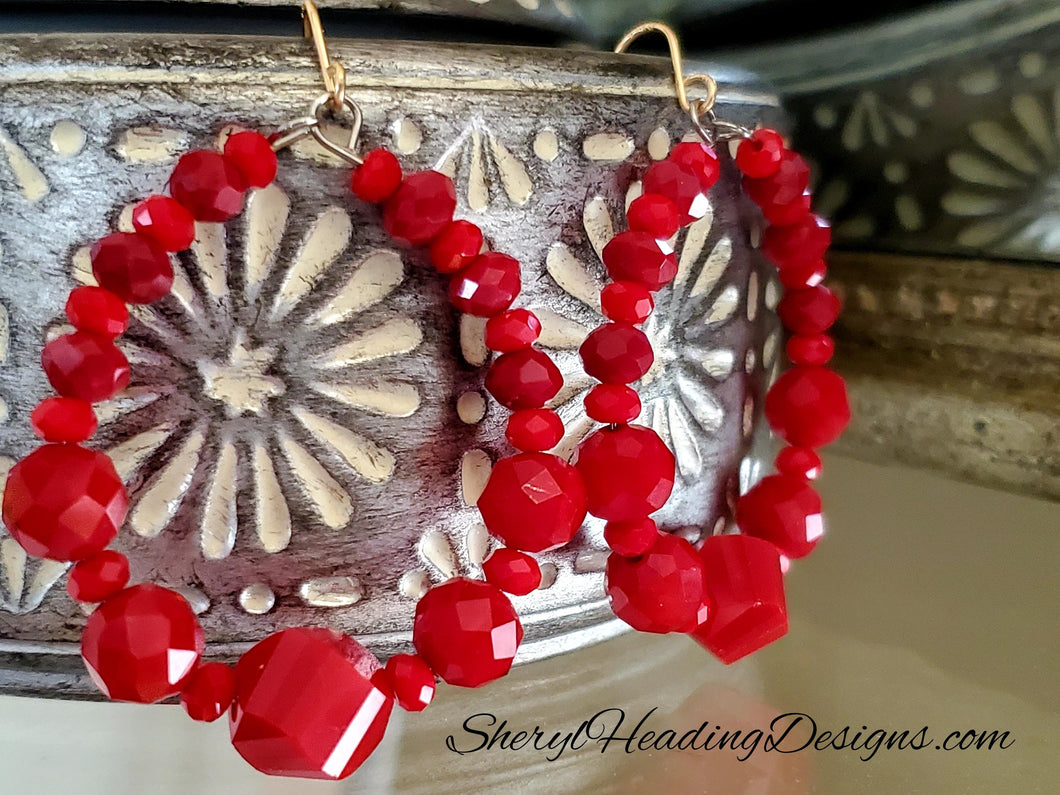 Out Loud Multifaceted Red Crystal Hoops