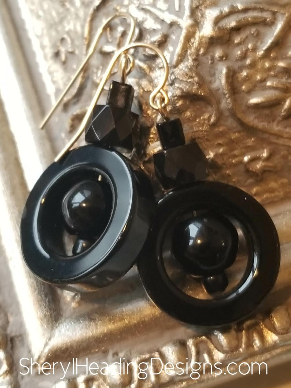 Black Dangle Earrings - Sheryl Heading Designs