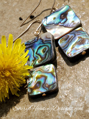 Dazzling and Tropical Abalone Shell Drop and Dangle Earrings
