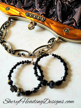 Elegant pair of black hoop earrings - Sheryl Heading Designs