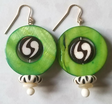 Green All Around African Beaded Earrings