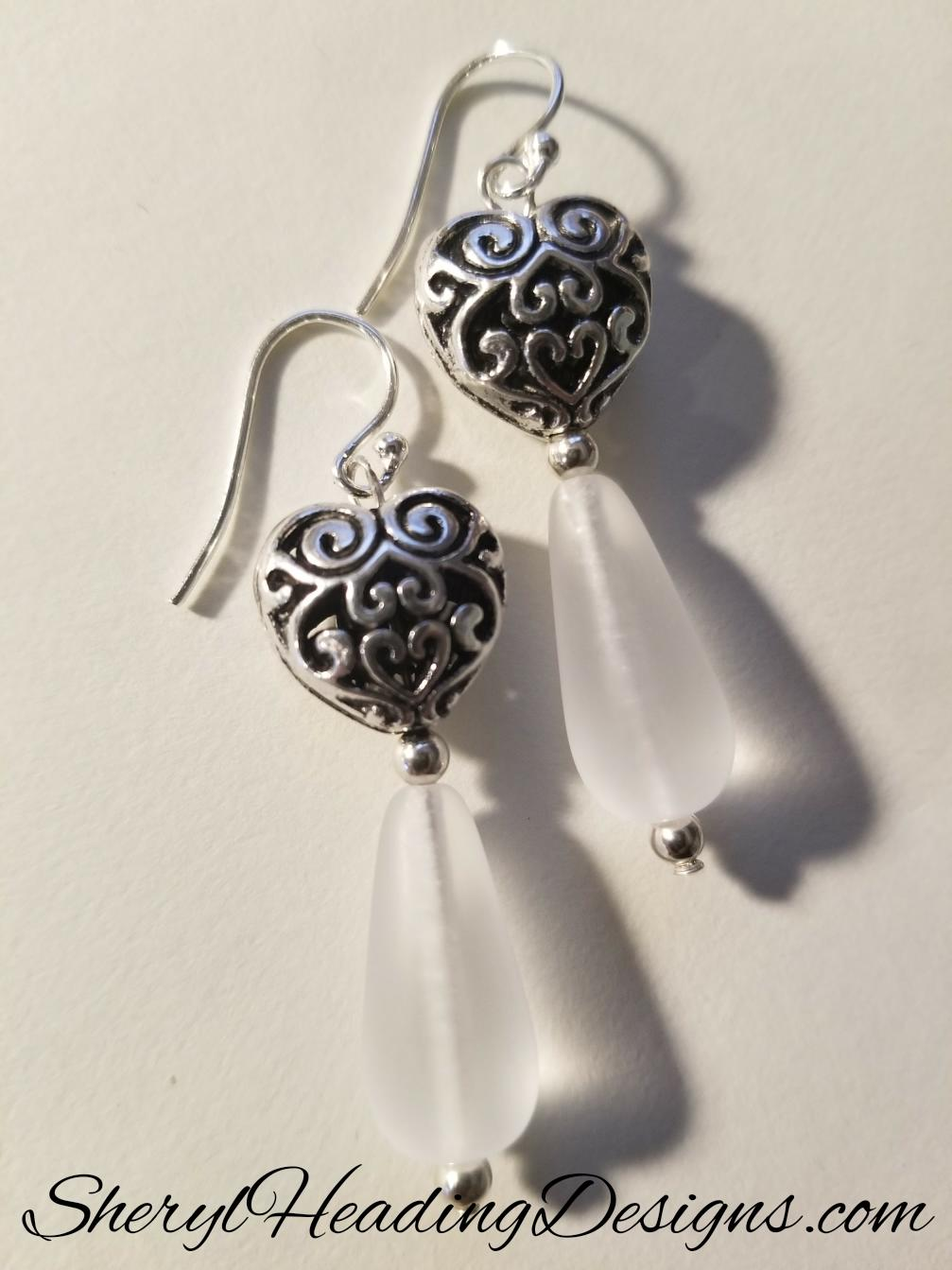 Puffed With Love Silver Heart Earrings - Sheryl Heading Designs